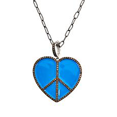 Rarities Turquoise-Color Enamel and Champagne Diamond Heart Pendant