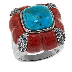 Rarities Turquoise, Coral and White Topaz Ring