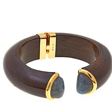 Rarities Wooden 7 Bangle Bracelet with Gemstone Endcaps