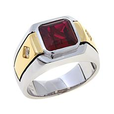 Red Stone & CZ Sterling Silver/Gold-Plated 2-Tone Ring