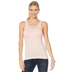 Rhonda Shear 2-pack Lace Inset Seamless Tank with Removable Pads