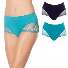 Rhonda Shear 2-pack Seamless Lace-Trimmed Brief
