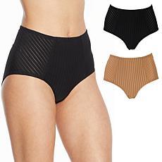Rhonda Shear 2-pack Striped Mesh Pin-Up Panty