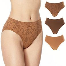 Rhonda Shear 3-pack Seamless Jacquard Ahh Brief Panty
