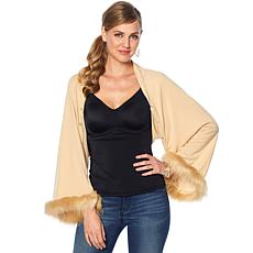Rhonda Shear Faux-Fur Trimmed Wrap