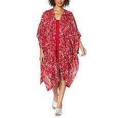 Rhonda Shear Printed Kimono with Side Ties