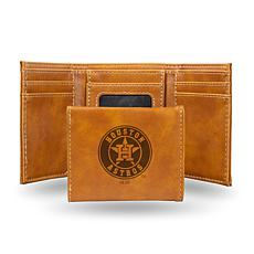 Rico Astros Laser-Engraved Brown Trifold Wallet