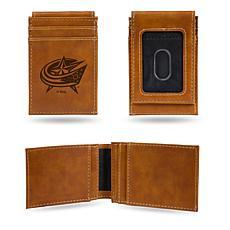Rico Blue Jackets Laser-Engraved Brown Front Pocket Wallet