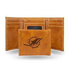 Rico Dolphins Laser-Engraved Brown Trifold Wallet