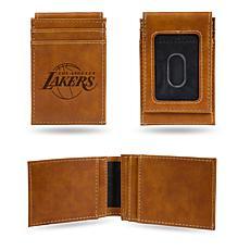 Rico Lakers Laser-Engraved Brown Front Pocket Wallet