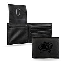 Rico Laser-Engraved Black Billfold Wallet -  Blue Jackets