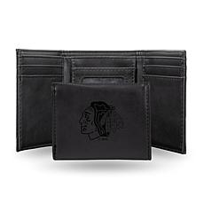 Rico Laser-Engraved Black Tri-fold Wallet - Blackhawks