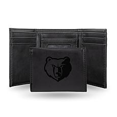 Rico Laser-Engraved Black Tri-fold Wallet - Grizzlies