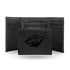 Rico Laser-Engraved Black Tri-fold Wallet - Wild