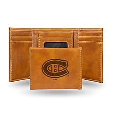Rico Laser-Engraved Brown Tri-fold Wallet - Canadiens