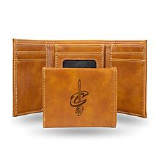 Rico Laser-Engraved Brown Tri-fold Wallet - Cavaliers