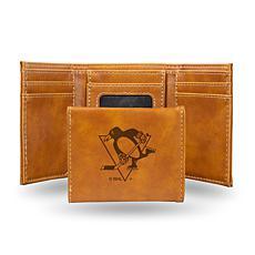 Rico Laser-Engraved Brown Tri-fold Wallet - Penguins