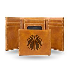 Rico Laser-Engraved Brown Tri-fold Wallet - Wizards