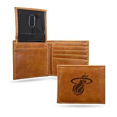 Rico NBA Laser-Engraved Brown Billfold Wallet - Heat