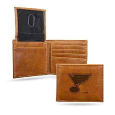 Rico NHL Laser-Engraved Brown Billfold Wallet - Blues