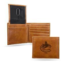 Rico NHL Laser-Engraved Brown Billfold Wallet - Canucks