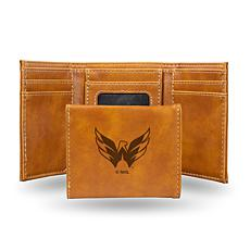 Rico NHL Laser-Engraved Brown Trifold Wallet - Capitals