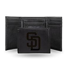 Rico Padres Laser-Engraved Black Trifold Wallet