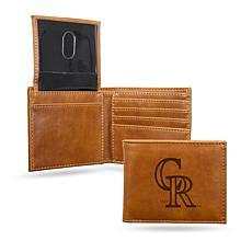 Rico Rockies Laser-Engraved Brown Billfold Wallet
