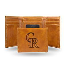 Rico Rockies Laser-Engraved Brown Trifold Wallet