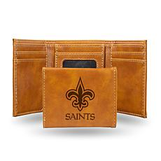 Rico Saints Laser-Engraved Brown Trifold Wallet