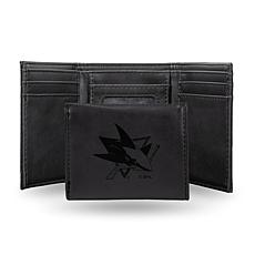 Rico Sharks Laser-Engraved Black Trifold Wallet
