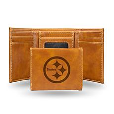 Rico Steelers Laser-Engraved Brown Trifold Wallet