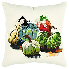 "Rizzy Home Harvest Gourd & Pumpkins 20"" x 20"" Decorative Throw Pillow"