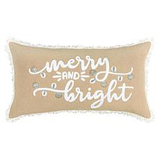 """Rizzy Home """"Merry and Bright"""" 14"""" x 26"""" Holiday Throw Pillow"""