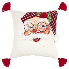 "Rizzy Home Santa Face 20"" x 20"" Holiday Decorative Throw Pillow"