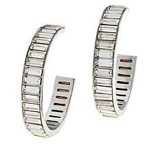 R.J. Graziano Crystal Baguette Hoop Earrings