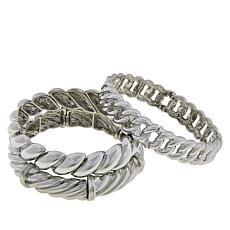 R.J. Graziano Multi-Link 3-piece Stretch Bracelet Set