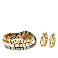R.J. Graziano Snake Chain Twisted Bracelet and Hoop Earrings Set