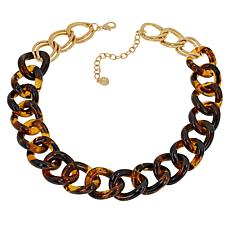 R.J. Graziano Two-Tone Resin Link Necklace