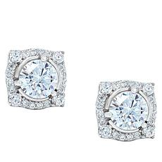 "Robert Manse ""CZ RoManse"" Clear CZ Round Stone Stud Earrings"