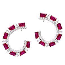 "Robert Manse ""CZ RoManse"" Colored Stone Hoop Earrings"