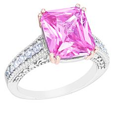 """Robert Manse """"CZ RoManse"""" Pink CZ Solitaire Ring with White CZ Accents"""