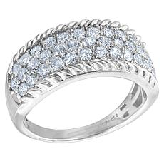 "Robert Manse ""CZ RoManse"" Sterling Silver CZ Cable Border Band Ring"