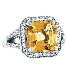 "Robert Manse ""Gem RoManse"" Asscher-Cut Citrine and Topaz Halo Ring"