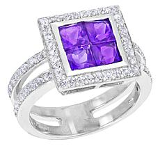 "Robert Manse ""Gem RoManse"" Sterling Silver Amethyst and Topaz Ring"