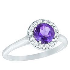 "Robert Manse ""Gem RoManse"" Sterling Silver Colored Gemstone Halo Ring"