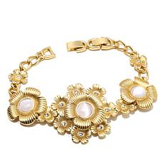 Roberto by RFM Pink Simulated Cat's Eye Floral Bracelet