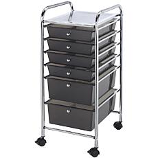 Rolling Storage Cart with 6 Drawers - Smoke