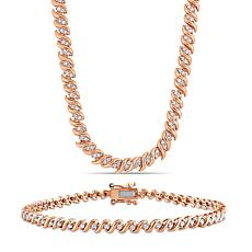 Rose-Tone Sterling 1.50ctw Diamond S-Link Tennis Necklace & Bracelet