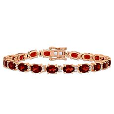 Rosetone Sterling Silver Garnet and White Sapphire Tennis Bracelet